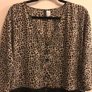 DIVIDED Animal Print Blouse with Fringe
